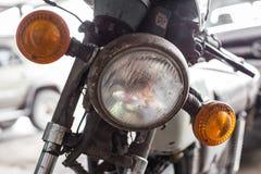 De koplampen van oude motorfietsen royalty-vrije stock afbeelding