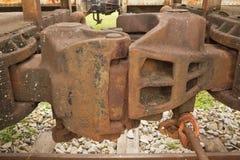 De koppelingen van de spoorweggoederentrein Stock Foto's