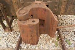 De koppelingen van de spoorweggoederentrein Stock Fotografie