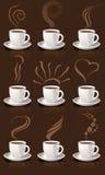 De koppen en de stoom van de koffie Stock Foto's