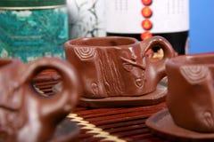 De koppen van de klei voor thee Stock Foto's