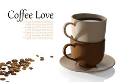 De koppen van de koffie en koffiebonen Royalty-vrije Stock Fotografie