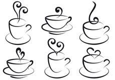 De koppen van de koffie en van de thee,   Stock Foto's
