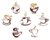 De koppen van de koffie en van de thee Royalty-vrije Stock Fotografie