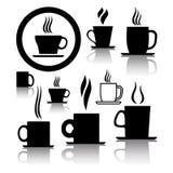 De koppictogrammen en symbolen van de koffie en van de thee Stock Foto