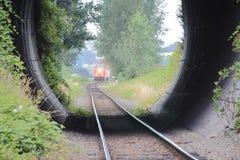 De korte Tunnel van de Onderdoorgangtrein stock foto
