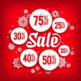 De Korting van de Kerstmisverkoop in Cirkels met Sneeuwvlokken Royalty-vrije Stock Foto's