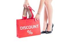 De korting van vrouwenschoenen Stock Foto's
