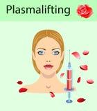 De kosmetiek en schoonheids vectorillustratie Mooie vrouw die plasma opheffende injectie hebben stock afbeelding