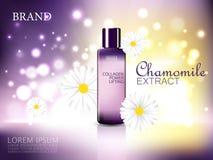 De kosmetische advertenties van het kamilleuittreksel Violette fles met kamillebloemen op glanzende violette en gele achtergrond Royalty-vrije Stock Fotografie