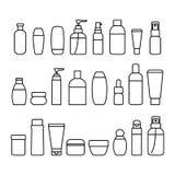 De kosmetische Reeks van het de Lijnpictogram van Flessentekens Zwarte Dunne Vector royalty-vrije illustratie
