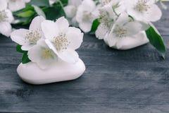 De kosmetische zeep en de witte jasmijnbloemen met groene bladeren liggen op een houten achtergrond Er is een plaats voor uw teks stock foto