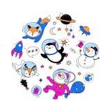 De kosmische elementen van het Kerstmisontwerp: Kerstman, Pinguïn, Herten, Vos en een ruimteschip Stock Foto's