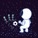 De kosmonaut speelt voetbal met vreemdelingen vector illustratie