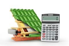 De kosten van de dakinstallatie De deklaag van de metaaltegel op het dak met technische details en lagen van bouw dichtbij calcul royalty-vrije illustratie