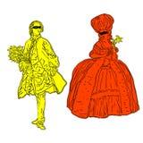 De kostuums van rococo's Stock Foto