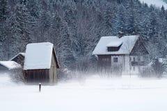 De koude en sneeuwwinter in berg Oostenrijk Stock Afbeeldingen