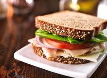 De koude sandwich van besnoeiingsturkije op gehele tarwe met Zwitserse kaas Stock Foto's
