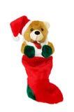 De kous van Kerstmis over wit met het knippen van weg Stock Foto