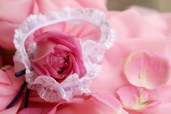 De kouseband en het roze-blad van de bruid Stock Fotografie