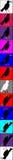 De kraaien en de raven, oppasser organiseerden zich in gekleurde vierkanten kolom Stock Foto's