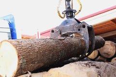 De kraan beweegt het hout van de vrachtwagen aan de zaag royalty-vrije stock foto
