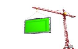 De kraan heft het aanplakbord op Isoleer op witte achtergrond stock illustratie