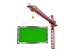 De kraan heft het aanplakbord op Isoleer op witte achtergrond vector illustratie