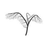 De kraan met vleugels spreidde gestileerde struik uit vector illustratie