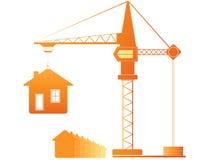De kraan van de bouw en vele huizen Stock Foto's