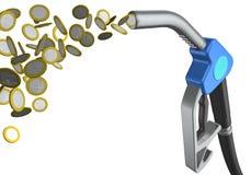 De kraan van de brandstof met geld Royalty-vrije Stock Afbeeldingen