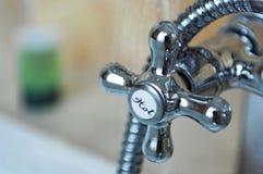 de kraan van het chroom hete water Stock Fotografie