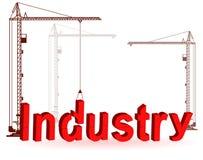 De kraan verzamelt de woordIndustrie Stock Afbeeldingen