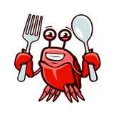 De krab houdt vork en lepel Zeevruchten, beeldverhaal vectorillustratie stock illustratie
