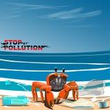 De krab is op de kust onder vuilnis vector illustratie