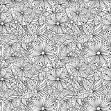 De krabbel bloeit zwart-wit naadloos patroon vector illustratie