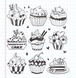 De krabbel cupcake plaatste Royalty-vrije Stock Afbeelding