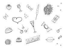 De krabbel plaatste voor ontwerp en decoratie van vieringen en gebeurtenissen, partijen, uitnodigingen, prentbriefkaaren Geïsolee vector illustratie