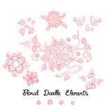 De krabbel roze elementen van de ornamentbloem op wit Stock Illustratie