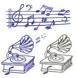 De krabbel van de muziek. Reeks van muzieknota en gramoph Stock Fotografie