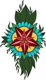 De Krabbel van Henna Abstract Mandala Flowers en van Paisley, Kleurende Pagina Stock Foto