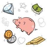 De krabbel van het beeldverhaalgeld Stock Foto