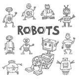 De krabbel van het robotbeeldverhaal, vectorillustratie Royalty-vrije Stock Foto