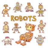 De krabbel van het robotbeeldverhaal, vectorillustratie Stock Afbeeldingen
