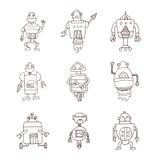 De krabbel van het robotbeeldverhaal, vectorillustratie Royalty-vrije Stock Afbeelding