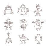 De krabbel van het robotbeeldverhaal, vectorillustratie Stock Afbeelding
