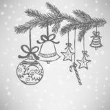 De krabbel van Kerstmisballen Stock Foto