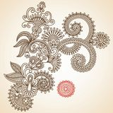 De krabbel vectorillustratie van bloemen Stock Afbeeldingen