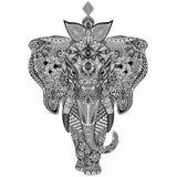 De Krabbelart. van olifantszentangle Stock Afbeeldingen