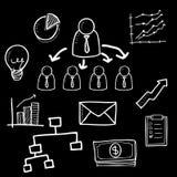 De krabbelbeeldverhaal van de organisatiegrafiek royalty-vrije illustratie